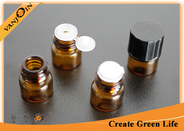 Perfume / Oil 1ml Amber Small Glass Vials With Screw Cap And Orifice Reducer