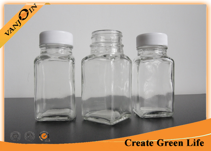 2oz Cute Unique Square Small Glass Bottles with lids , Plastic Cap Recycling Glass Drink Bottles