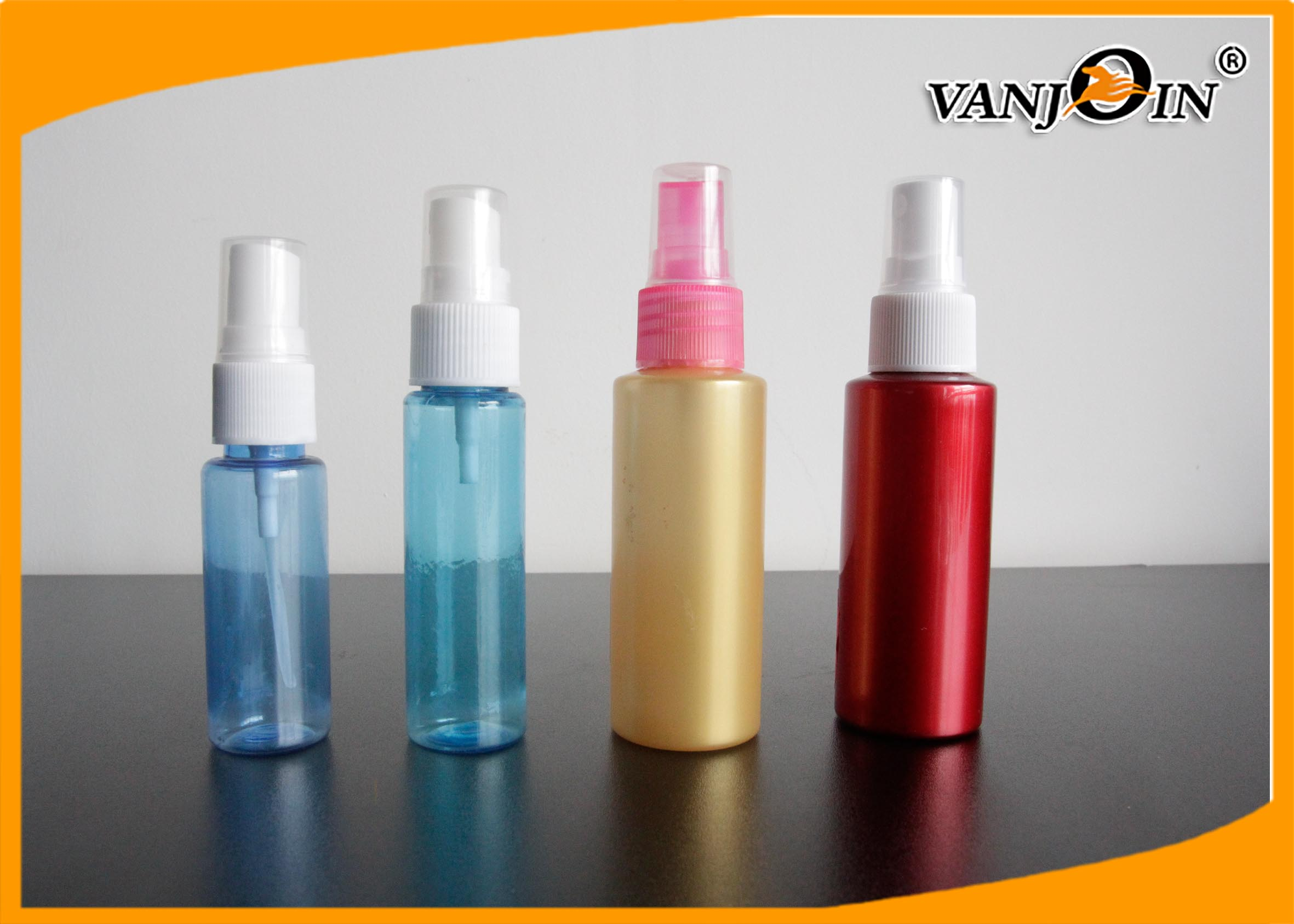 15ml / 25ml / 30ml Small Empty Blue PET Cosmetic Bottles with Sprayer , Plastic Cosmetic Containers