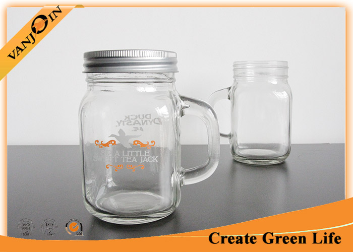 12oz Clear Empty Glass Jars For Drinking , Custom Unique Glass Mason Jar with Handle