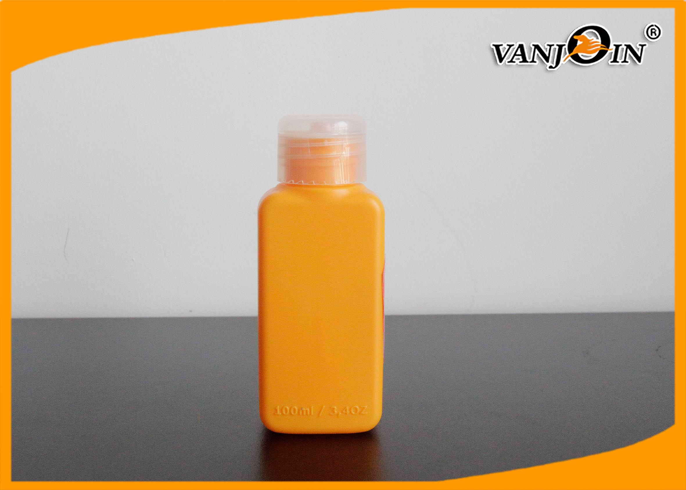 100ml HDPE Plastic Bottles with Flip Cap Orange / Green / Pink  Square Cosmetics Bottles