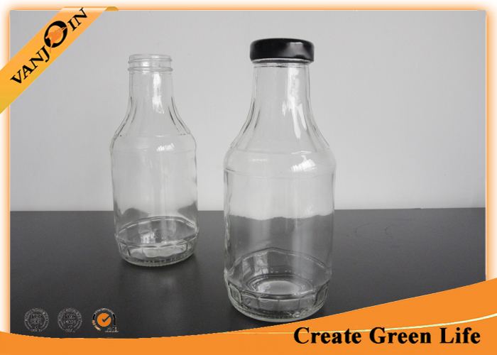 Kitchenware 16oz Empty Glass Bottle for Sauce Preserving With Black Screw Lids