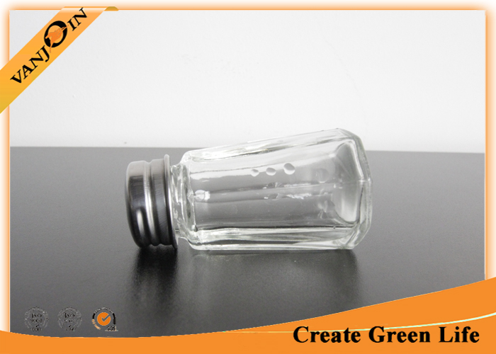 30ml Octagonal Glass Sauce Bottles With Stainless Steel Shaker , Small Glass Bottles and Jars