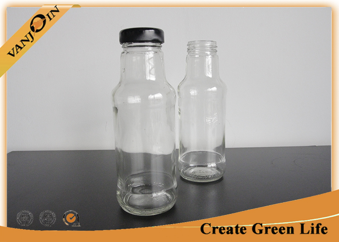 Screwing Top 10oz Glass Sauce Bottles With Metal Lid , 300ml Small Packaging Bottles