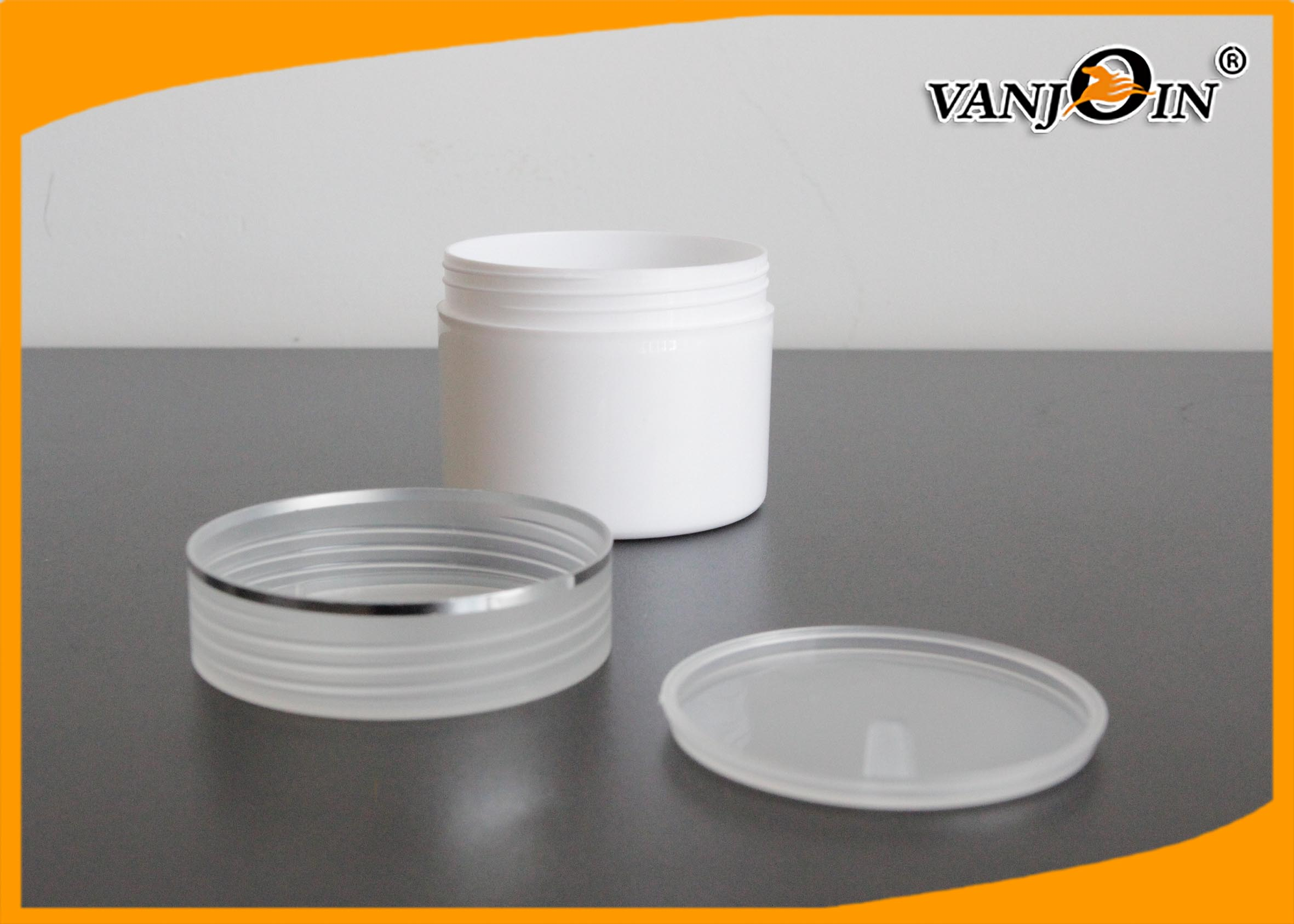 130ml White Double Wall Empty PE Plastic Cream Jar with Semi-transparent Lids