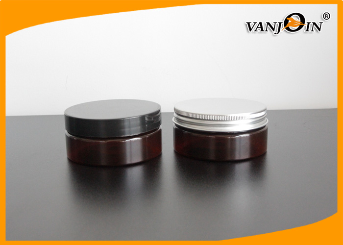 Dark Amber 150ml PET Plastic Cream Jar with Black PP Screw Cap , Plastic Cosmetic Jars