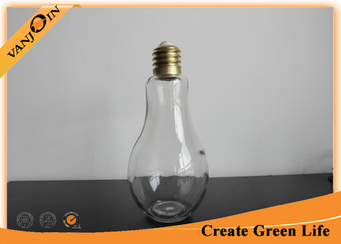 850ml Light Bulb Shape Glass Beverage Bottles With Metal Lid and Straw for Fruit Juice
