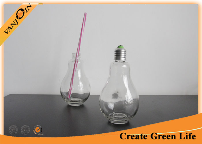 Candy Storage 200ml Bulb Shaped Glass Beverage Bottles With Metal Cap , Glass Drinking Bottles