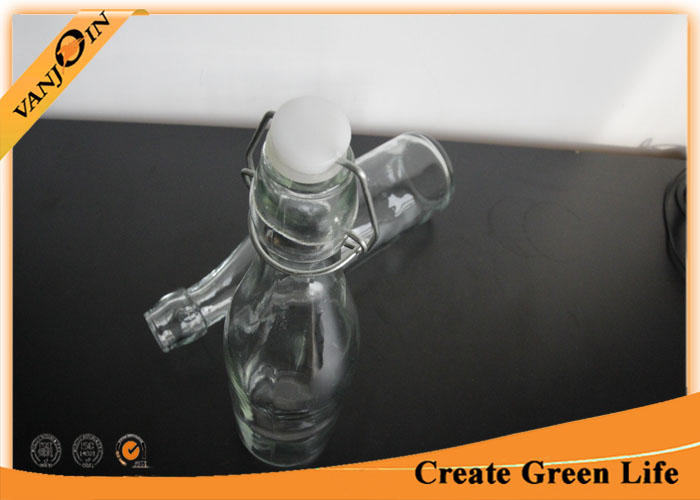 Sealable Glass Beverage Bottles with Lids , Clear 500ml Liquid Packaging Specialty Glass Bottles