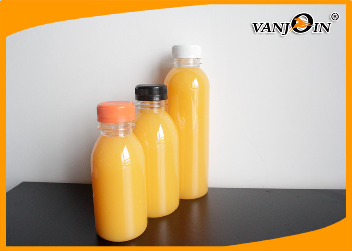 250ML Round PET Clear Food Grade Plastic Packaging Bottles for Juice  With Evident Cap