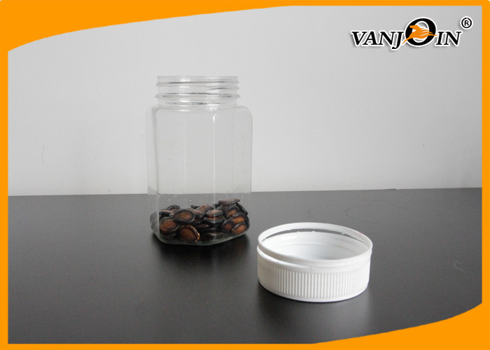 400ML Wide Mouth Square Plastic Food Containers / Plastic Candy Jar For Coffee Beans Jam