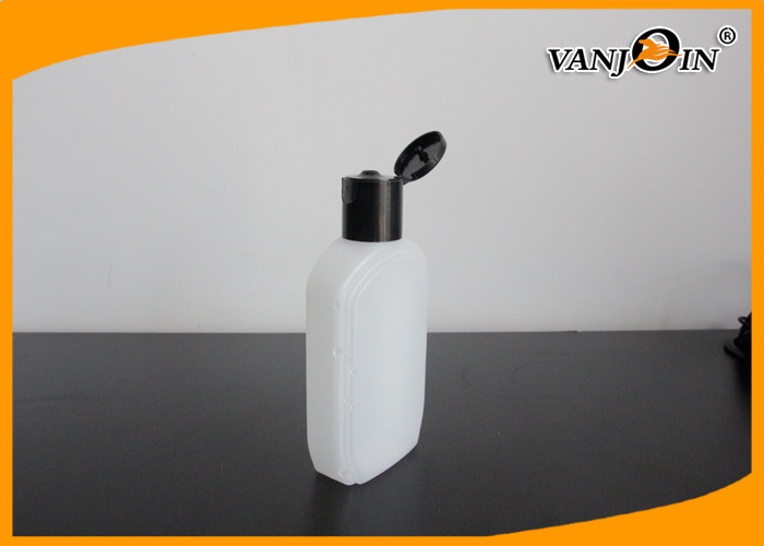 180ML Flat HDPE Hand Cream Cosmetic Bottle / Plastic Lotion Bottles With Flip Top Cap