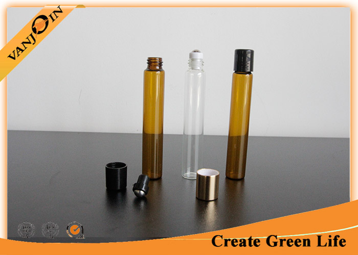 Customized 10ml Amber Small Glass Vials with Plastic Screw Cap for Essential Oils