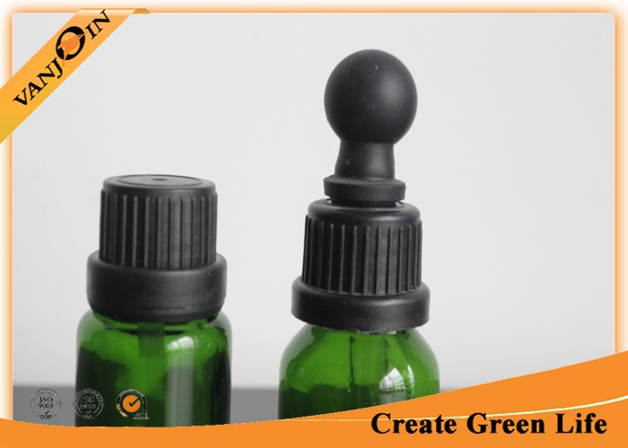Recycled 15ml Green Colored Essential Oil Glass Bottles With Dropper , Small Empty Glass Bottles