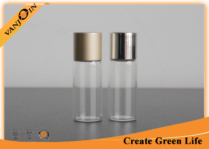 Screw Top Small Glass Vials 5ml With Aluminum Cap , Perfume Mini Glass Containers