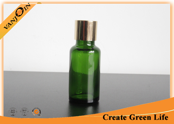 20ml Dark Green Essential Oil Glass Bottles With Sliver Dropper Cap , Miniature Glass Bottles