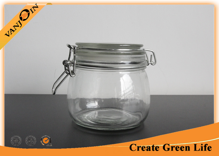 500ml Empty Round Glass Storage Jars with Lids , Clamp Glass Jar Food Storage Container