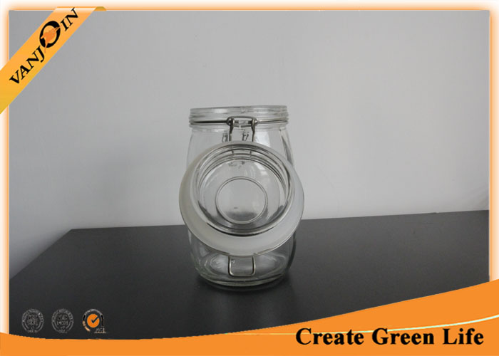 Flint 1000ml Kitchen Glass Storage Jars with Clamp Lids , Glass Jars with Lids Wholesale