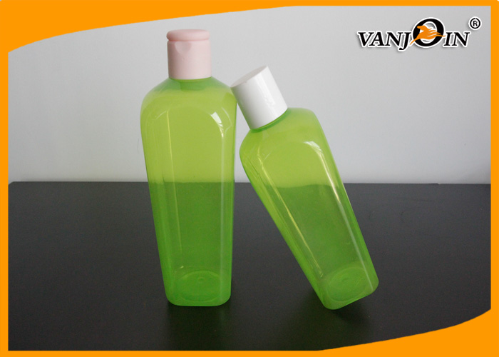 350ML Green Square Plastic Cosmetic Bottles / PET Shower Gel Lotion Bottle with Screw Cap