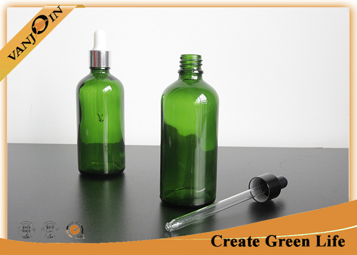 Essential Oils Glass Bottles 100ml Green Boston Round Glass Bottle With Dropper