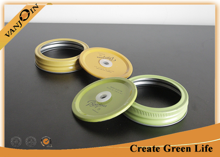 Orange Color Beverage Bottle Lids 70ml Tin Lid And Band With Hole On Top