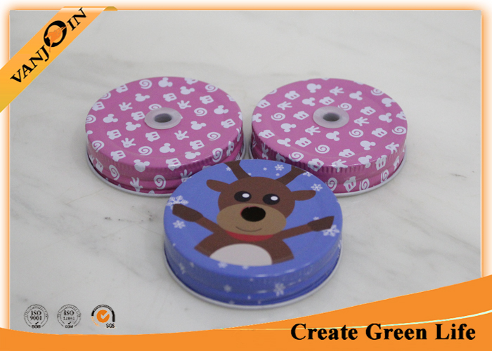Promotion Painted Regular Mouth Bottle Lids With Hole 70mm Diameter