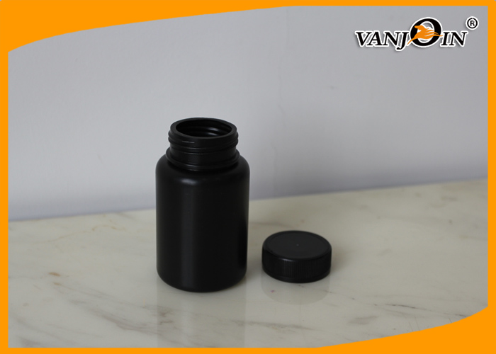 Medical 120cc HDPE Black Plastic Pharmacy Bottles , Medicine Pill Bottles