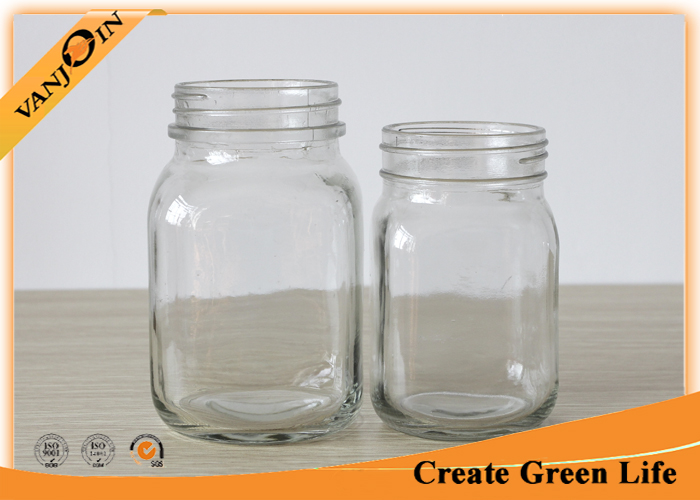 Food Packing Square Shape 12oz 20oz Eco Mason Glass Jars With Lids