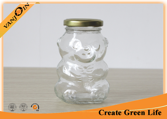 250ml Bear Shape Glass Food Jars , Clear Glass Food Storage Jars With Twist Off Lids For Cookie