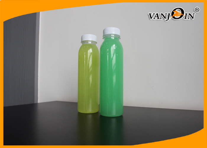 Fresh Juice 350ml Round PET Plastic Bottle With White Tamper Proof Cap