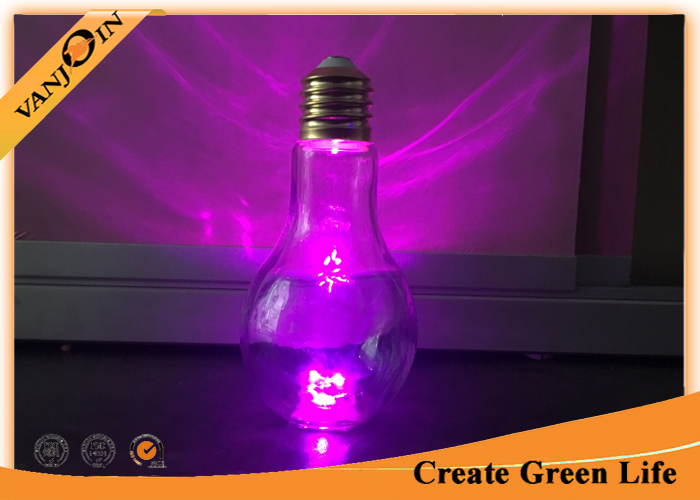 Decorative Glass Beverage Bottles , 500ml LED Light Bulb Glass Juice Bottle with Lid