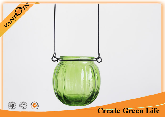 200ml Decorative Spray Colored Pumpkin Shaped Glass Hanging Candle Holder Lamp