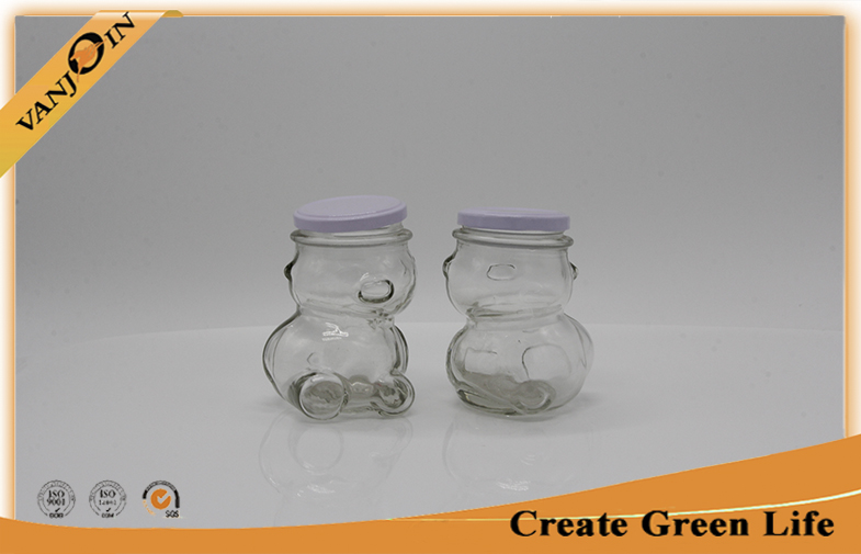 Bear Shape Home Use 320ml Clear Glass Food Jars With Metal Screw Cap