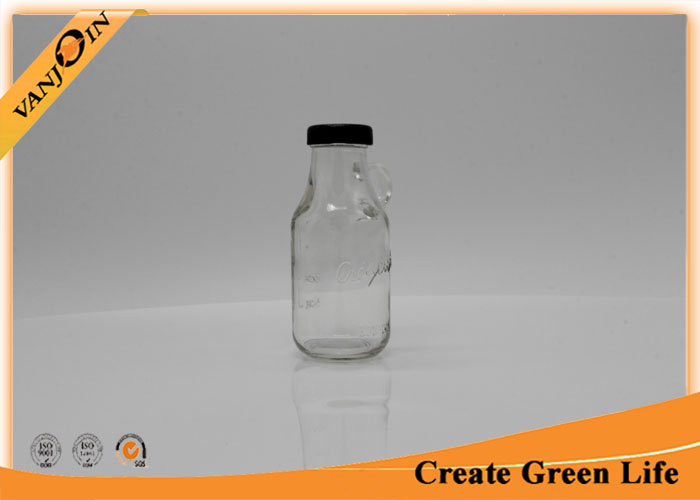 Portable Square Shape Embossed 10oz Glass Juice Bottle With Handle