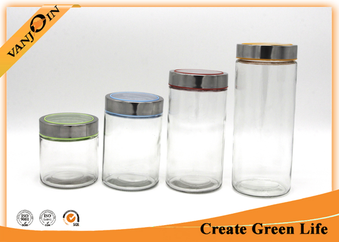 800ml glass food storage jars / Bottle With Visible Metal Screw Lid