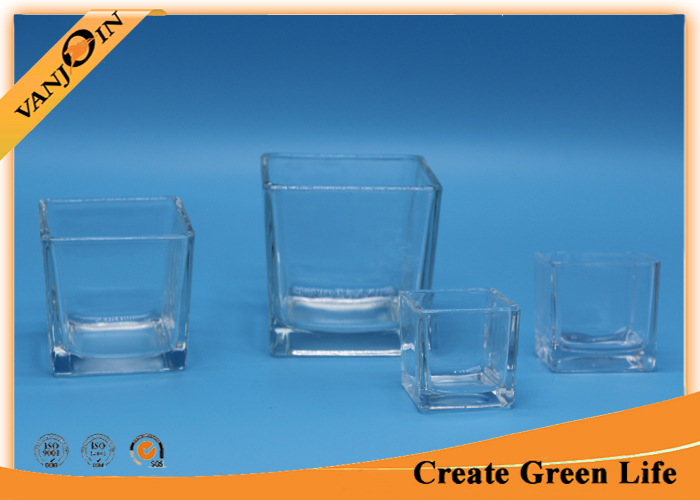 Recycled decorative Crystal Square clear glass vases Family Sizes