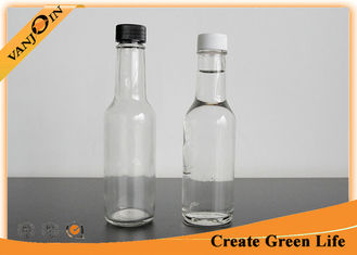 China Clear 5oz Woozy Glass Sauce Bottles With Orifice Reducer and Plastic Screw Cap supplier