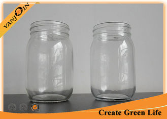 China High Fint 16oz Clear Eco Mason Glass Jars / Tin Lid Glass Mason Jar For Food Storage supplier