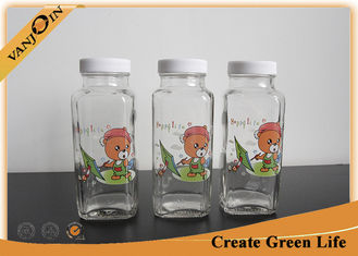 China Beverage Packaging 8oz French Square Glass Bottles With Surface Printing 55mm Dia supplier