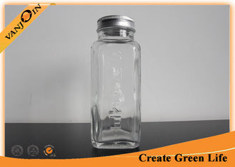 China Custom 8oz French Square Glass Beverage Bottles With Aluminium Cap for Drinks supplier