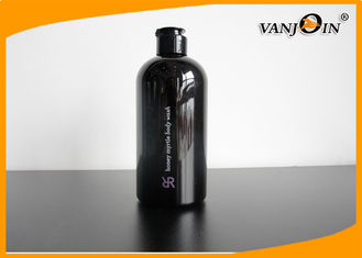 China 500ml Boston Round Black PET Cosmetic Bottles with Flip Top Cap , Wholesale Plastic Bottles supplier