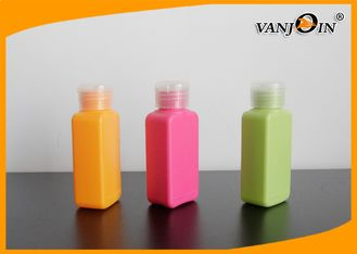 China 100ml HDPE Plastic Bottles with Flip Cap Orange / Green / Pink  Square Cosmetics Bottles supplier