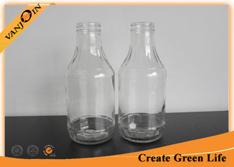 China Kitchenware 16oz Empty Glass Bottle for Sauce Preserving With Black Screw Lids supplier