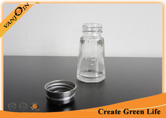 China 30ml Octagonal Glass Sauce Bottles With Stainless Steel Shaker , Small Glass Bottles and Jars supplier