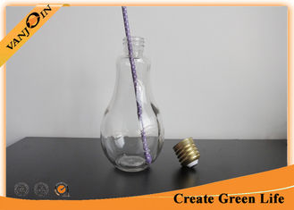 China 850ml Light Bulb Shape Glass Beverage Bottles With Metal Lid and Straw for Fruit Juice supplier