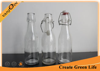 China 250ml Milk / Juice Drink Glass Beverage Bottles With Plastic Swing Top , Empty Glass Bottle supplier