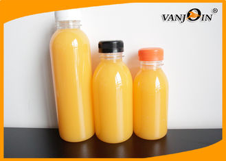 China 250ML Round PET Clear Food Grade Plastic Packaging Bottles for Juice  With Evident Cap supplier
