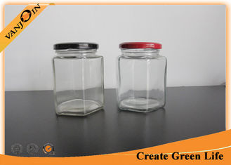 China Small 400ml Hexagon Glass Food Storage Containers with Lids , Glass Canning Jars supplier