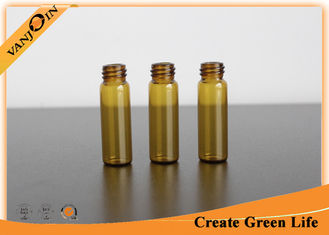 China 5ml Amber Glass Small Vials With Black Phenolic Cone Lined Screw-on Cap 45mm Height supplier