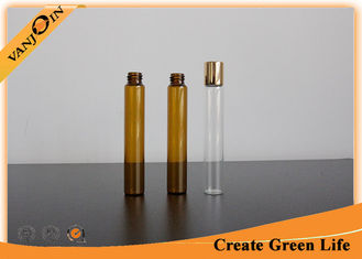 China Customized 10ml Amber Small Glass Vials with Plastic Screw Cap for Essential Oils supplier